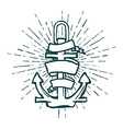 Vintage Marine Anchor isolated engrave vector image vector image