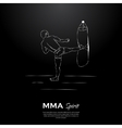 MMA spirit fighter and punching bag vector image