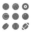 sports balls set silhouettes of balls vector image