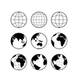 Globe Earth icons set signs isolated on vector image