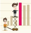 successful business team in front of graph vector image