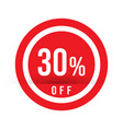 30 percent off - red sale stamp - special offer vector image