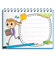 A notebook with a sketch of a girl running with vector image vector image