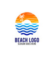 beach and sunshine logo design template vector image