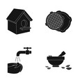 bowl nuts spoon and other web icon in black vector image