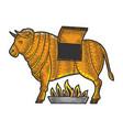 brazen bull torture device sketch vector image vector image