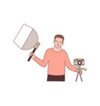 cameraman with photographic equipment flat vector image vector image