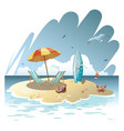cartoon island in the sea with a chaise longue vector image vector image