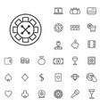 casino outline thin flat digital icon set vector image