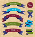 Christmas collection variation labels and ribbons vector image vector image