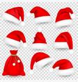 christmas santa claus hats with fur set bag sack vector image vector image