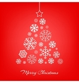 Christmas tree made from snowflakes on red vector image vector image