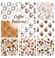 Coffee seamless patterns set vector image vector image