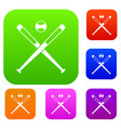 crossed baseball bats and ball set color vector image vector image