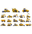 different types of construction trucks set heavy vector image vector image