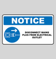 disconnect mains plug from electrical outlet sign vector image vector image