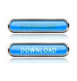 download blue glass buttons with chrome frame vector image vector image