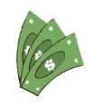 drawing money bills dollar cash vector image vector image