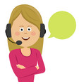 female customer service operator with headset vector image