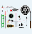 fishing accessories set vector image