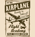 flight academy vintage advertising poster vector image