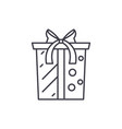 gift box with bow line icon concept gift box with vector image vector image
