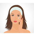 girl applies make up vector image vector image