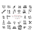 Hand-drawn sketch school tools icon set Black on vector image vector image