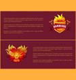 hot barbeque icons with burning badges vector image vector image