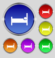 Hotel Icon sign Round symbol on bright colourful vector image vector image