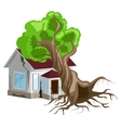 House destroyed Tree fell on house Cracks in vector image