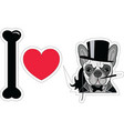 I love french bulldog old fashion gentleman style vector image
