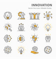 innovation flat line icon set vector image