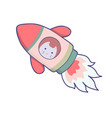 japanese kawaii cat travels in space funny vector image vector image