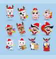 kawaii cute christmas santa claus and friendhappy vector image