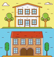 Linear flat houses Design elements for construct vector image