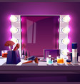 makeup mirror with lamps vector image