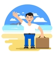 Man with a suitcase on a tourist vector image vector image
