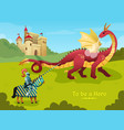 medieval dragon knight composition vector image vector image