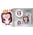 penguin with crown poster and merchandising vector image vector image