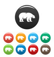 polar bear howl icons set color vector image