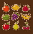 retro fruits design icons vector image vector image