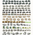 Rock stone set with grass cartoon in flat style