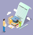 student loan concept isometric vector image vector image