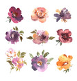 watercolor flowers hand drawn colorful beautiful vector image vector image