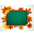 wooden blackboard with autumn leaves vector image vector image