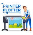 worker with plotter man large format vector image vector image