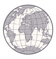 world map globe sketch vector image vector image