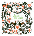 save the date wedding floral card vector image