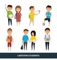 Set of cartoon students vector image